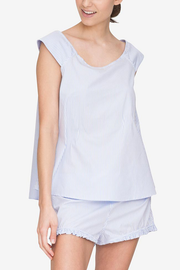 front cropped view swing tank top short with ruffle hem pajama set periwinkle stripe cotton by the Sleep Shirt