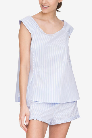 front view swing top periwinkle stripe cotton by the Sleep Shirt