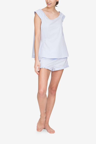 front view swing tank top short with ruffle hem pajama set periwinkle stripe cotton by the Sleep Shirt