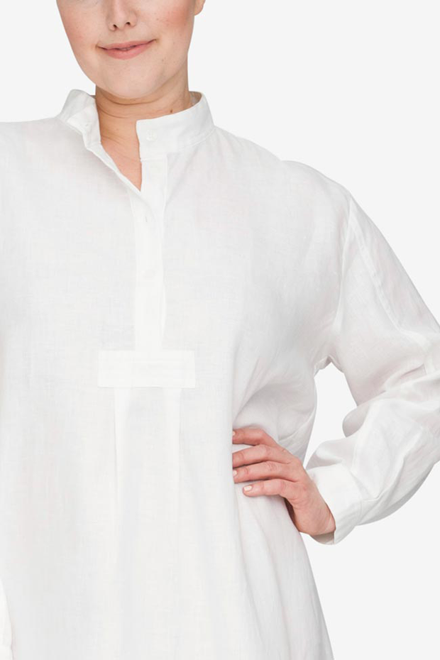front cropped view Plus size classic long sleep shirt white linen by the Sleep Shirt