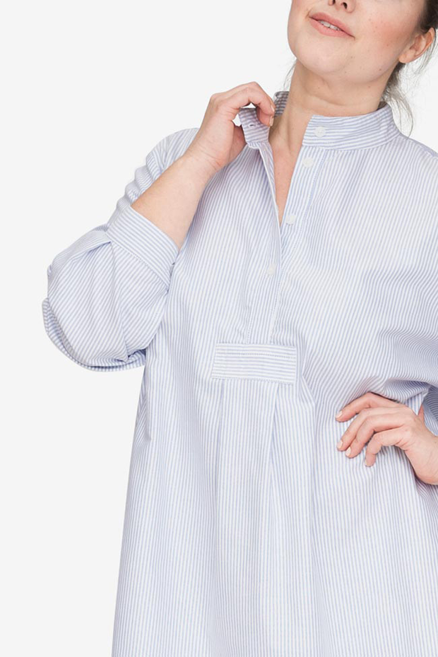 plus size classic long sleep shirt blue oxford stripe cotton by the Sleep Shirt