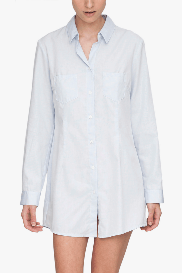 Slim Sleep Shirt Blue Point Cotton