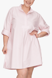 front cropped view Plus size classic short sleep shirt pink oxford stripe cotton by the Sleep Shirt