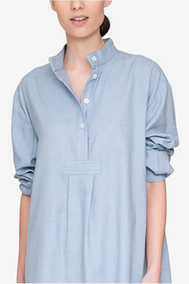 Long Sleep Shirt Blue Cashmarello