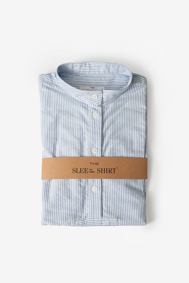 classic short sleep shirt blue oxford stripe cotton folded by the Sleep Shirt