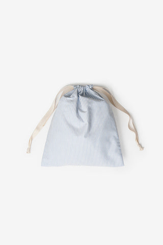 drawstring dust bag blue oxford stripe cotton by the Sleep Shirt