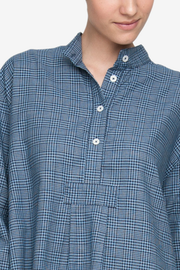 Long Sleep Shirt Light & Dark Blue Check