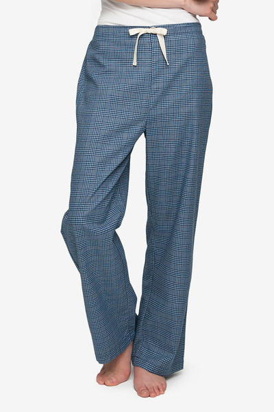 front view lounge pant light and dark blue check cotton by the Sleep Shirt