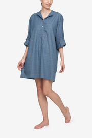 front view classic short sleep shirt light and dark blue check cotton by the Sleep Shirt