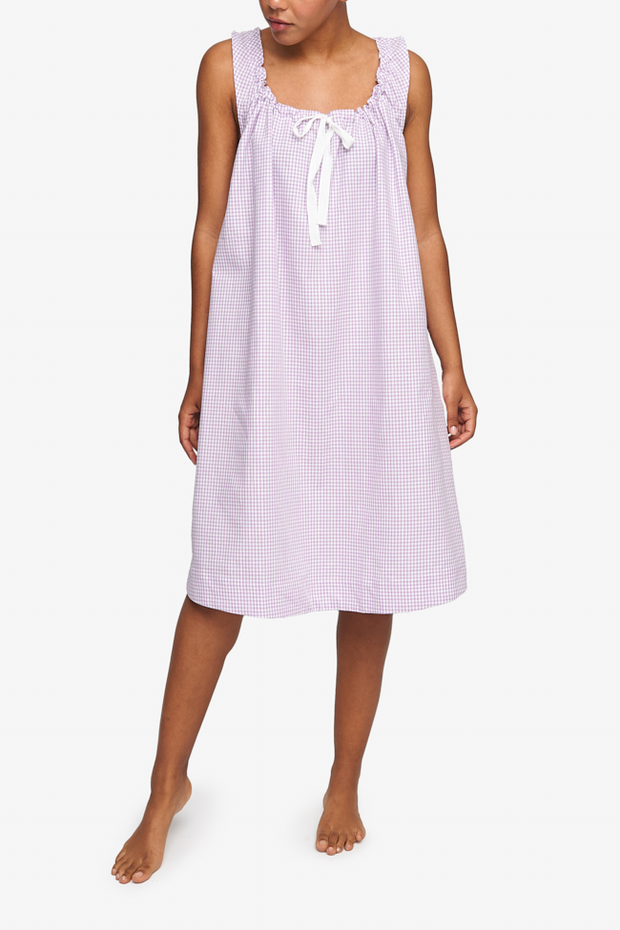Sleeveless Nightie Lilac Gingham Dot