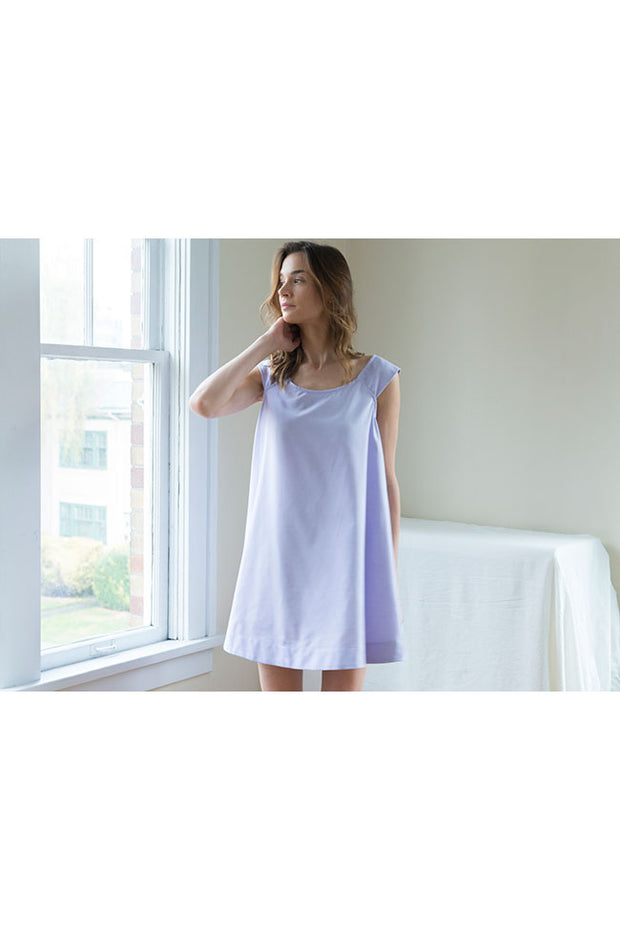 swing nightie nightgown lilac royal oxford cotton on model by the Sleep Shirt