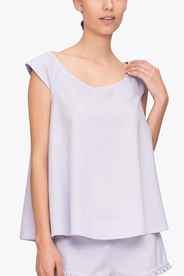 front view swing top lilac royal oxford cotton by the Sleep Shirt