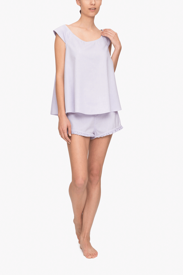front view camisole tank top short with ruffle hem pajama set lilac royal oxford cotton by the Sleep Shirt