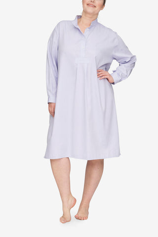 front view plus size classic long sleep shirt lilac royal oxford cotton by the Sleep Shirt