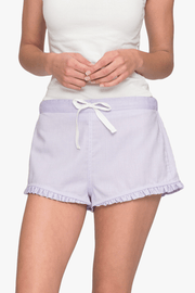 front cropped view pajama shorts with ruffle hem in lilac royal oxford cotton by the Sleep Shirt