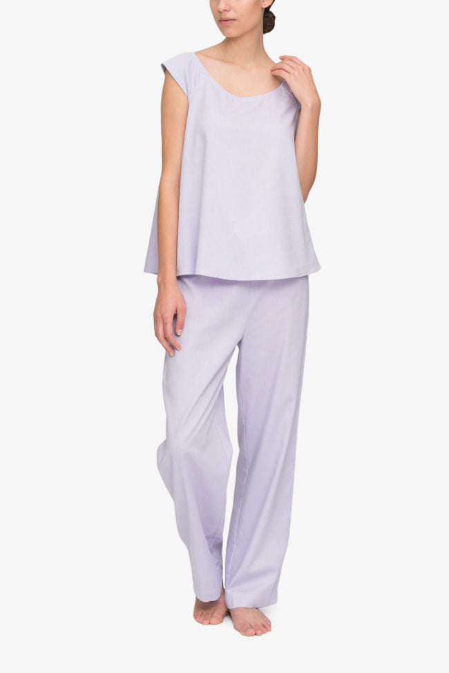 4fcac6cae front view swing tank top lounge pants pajama set lilac royal oxford cotton  by the Sleep ...