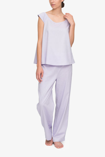 front view swing tank top lounge pants pajama set lilac royal oxford cotton by the Sleep Shirt