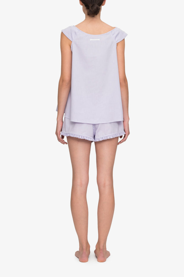 back view camisole tank top short with ruffle hem pajama set lilac royal oxford cotton by the Sleep Shirt