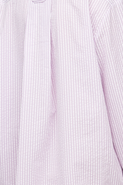 Button Down Sleep Shirt Lilac Seersucker Stripe