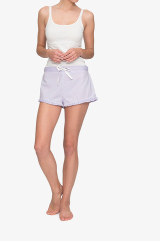 front view pajama shorts with ruffle hem in lilac royal oxford cotton by the Sleep Shirt