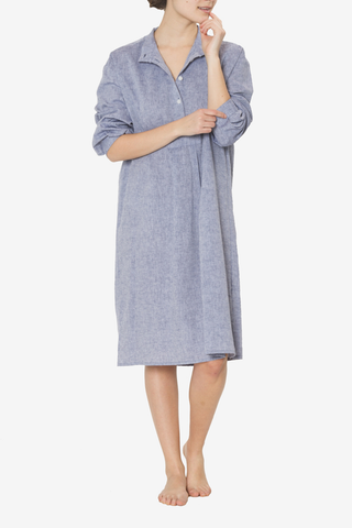 Long Sleep Shirt Linen Chambray