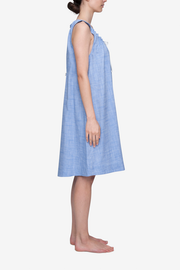 Sleeveless Nightie Medium Blue Dobby