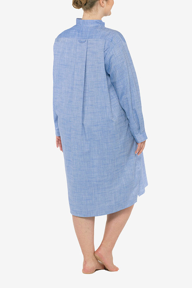 Long Sleep Shirt Medium Blue Dobby PLUS