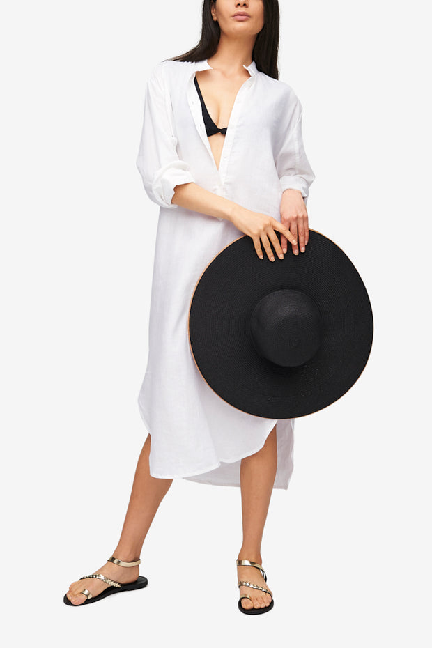 Ankle Length Sleep Shirt White Linen