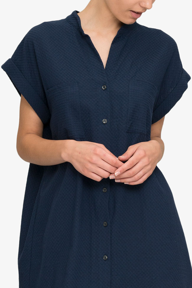 front cropped view knee length button down tshirt with pockets in navy boucle Japanese cotton by the Sleep Shirt