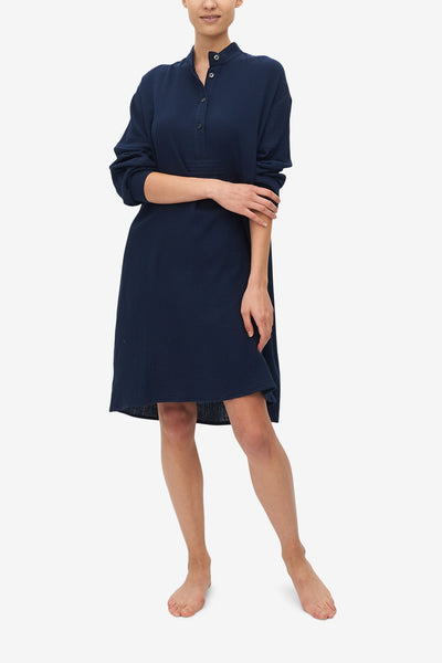 Long Sleep Shirt Navy Double Gauze
