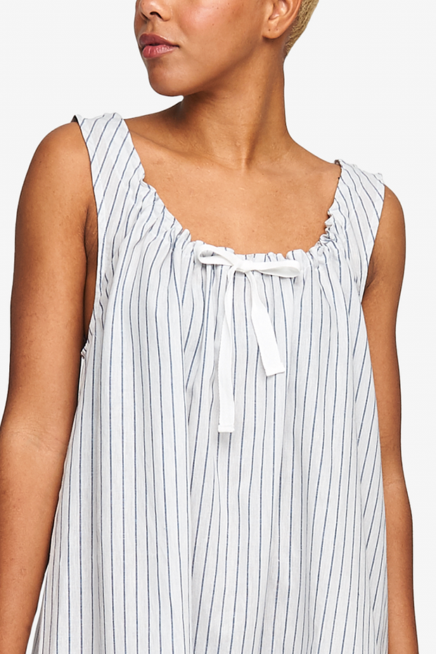 Sleeveless Nightie Navy Linen Blend Stripe