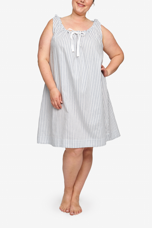 Sleeveless Nightie Navy Linen Blend Stripe PLUS