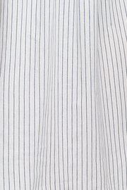 Long Sleep Shirt Navy Linen Blend Stripe PLUS