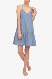 front view spaghetti strap nightie nightgown dress navy twill cotton by The Sleep Shirt