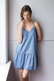 spaghetti strap nightie nightgown dress navy twill cotton on model by The Sleep Shirt