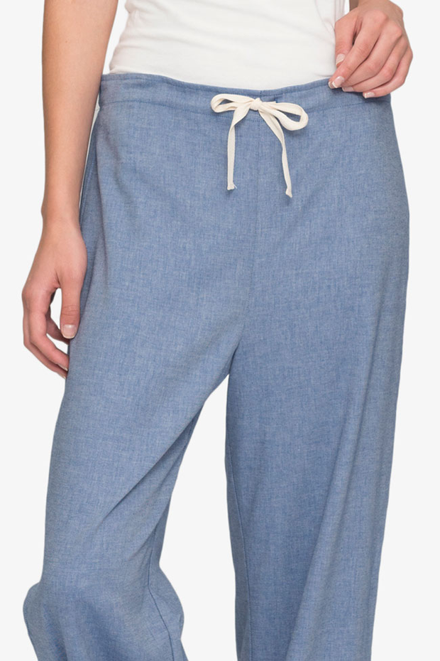 Set - Short Sleeve Cropped Sleep Shirt and Lounge Pant Navy Twill