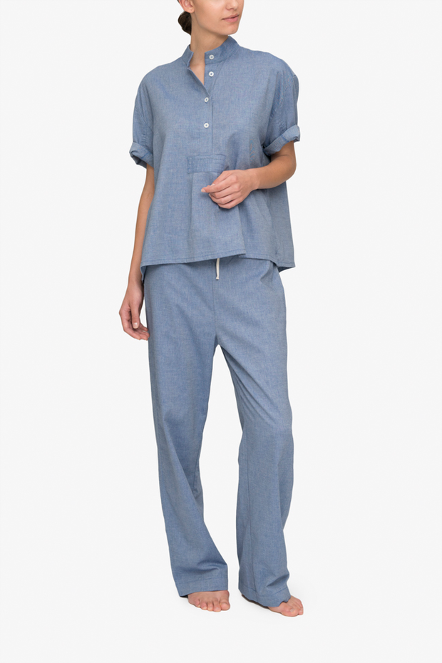 front view classic lounge pants in navy cotton twill pajama set by the Sleep Shirt