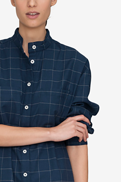 ... Placket Sleep Shirt Navy Windowpane Flannel. Item out of stock - notify  me! 77c453b6b