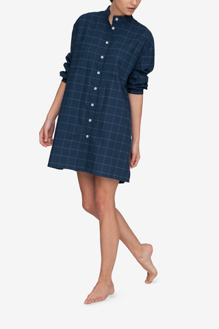 Placket Sleep Shirt Navy Windowpane Flannel