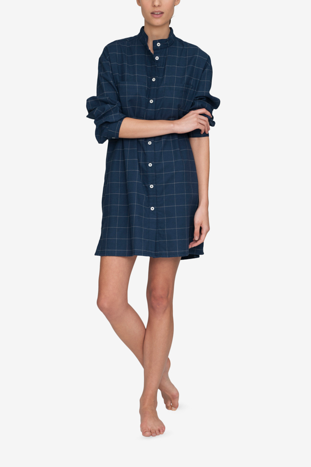front view placket sleep shirt navy windowpane flannel cotton by the Sleep Shirt