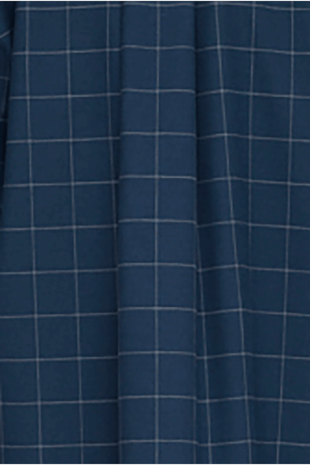 Short Sleep Shirt Navy Windowpane Flannel