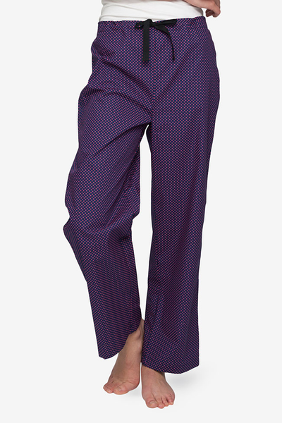 front view lounge pant navy with red dot cotton by the Sleep Shirt