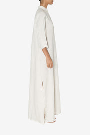 Full Length Sleep Shirt Oatmeal Linen