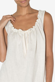 Sleeveless Nightie Oatmeal Linen