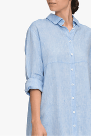 front cropped view knee length button down sleep shirt ocean linen by the Sleep Shirt