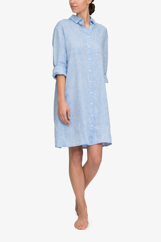 front view knee length button down sleep shirt ocean linen by the Sleep Shirt