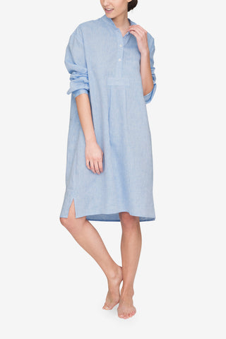 front view classic long sleep shirt ocean linen by the Sleep Shirt