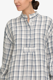 front cropped view classic short sleep shirt Japanese cotton plaid by the Sleep Shirt