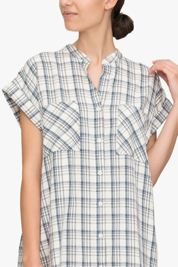 front cropped view knee length button down tshirt with pockets in grey Japanese cotton plaid by the Sleep Shirt