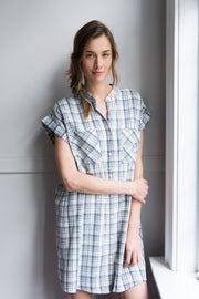 knee length button down tshirt with pockets in grey Japanese cotton plaid on model by the Sleep Shirt
